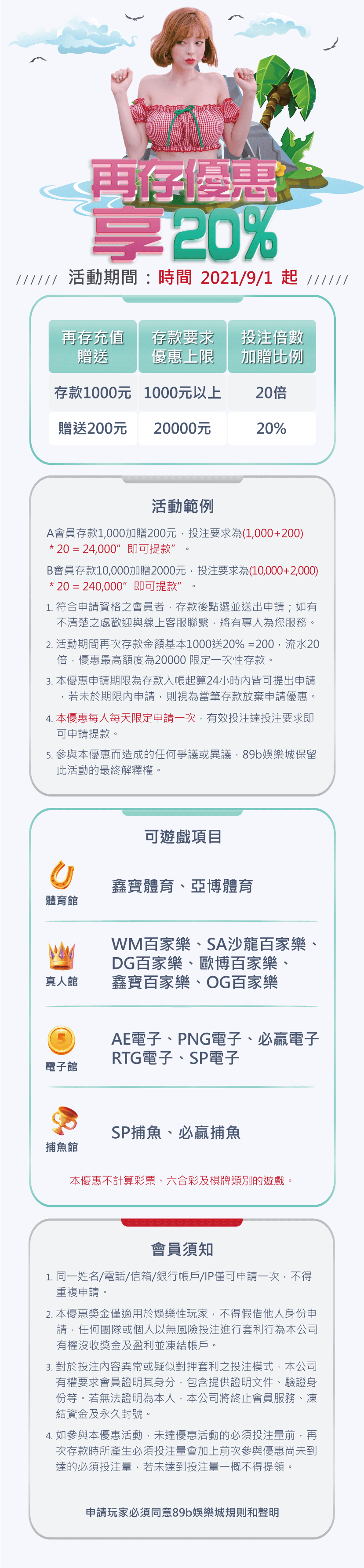 再次存款送20%,最高優惠2萬|89博娛樂城